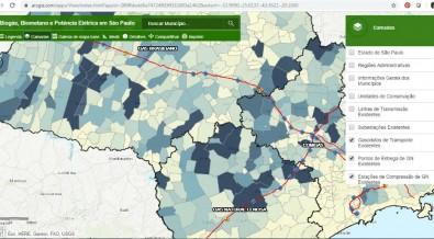 Mapas interativos mostram potencial de geração de energia do biogás em SP