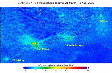Satellite images confirm a decrease in airborne pollution in São Paulo
