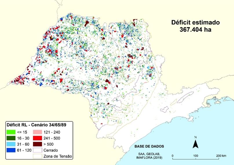 imagem: espacialização do déficit estimado de reserva legal no Estado de São Paulo por propriedade rural em hectares; crédito: Esalq-USP
